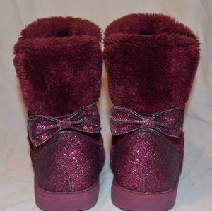 Burgundy Sparkle Fuzzy Boots